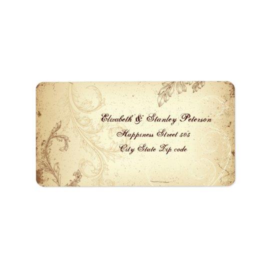 Vintage scroll leaf in beige, brown wedding label