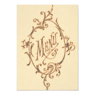 Vintage Scroll Menu 13 Cm X 18 Cm Invitation Card