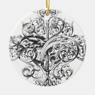 Vintage scroll typography design christmas ornament