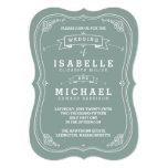 Vintage Scroll Wedding Invitation | Green 13 Cm X 18 Cm Invitation Card