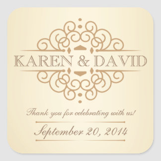 Vintage Scrolls Wedding Thank You Labels Square Sticker