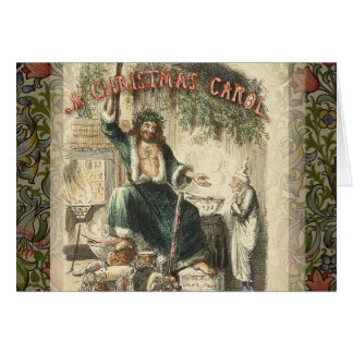 Vintage Scrooge Ghost of Christmas Present Greeting Card