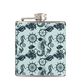 Vintage Sea Animal Pattern Flask