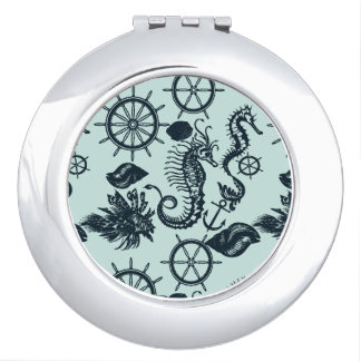 Vintage Sea Animal Pattern Vanity Mirrors