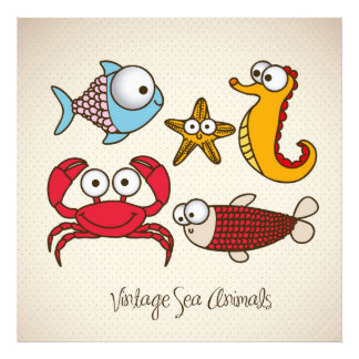 Vintage Sea Animals Photo Print