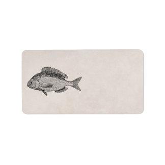 Vintage Sea Bream Fish Retro Fishes Template Address Label