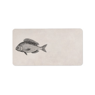 Vintage Sea Bream Fish Retro Fishes Template Label
