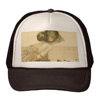 Vintage Sea Girl With Pink Rose Hat