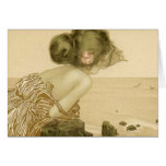 Vintage Sea Girl With Pink Rose Note Card