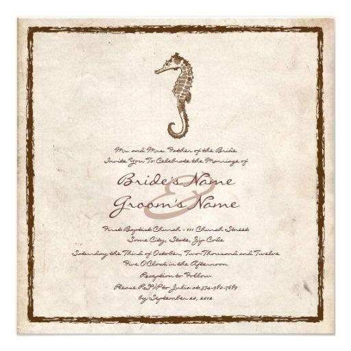 Vintage Sea Horse Beach Wedding Invitation