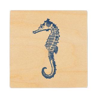 Vintage Sea Horse Maple Wood Coaster