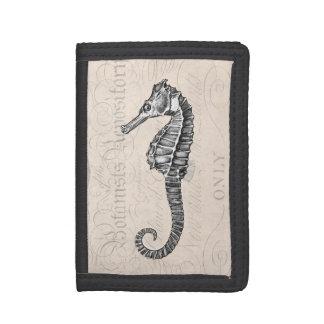 Vintage Sea Horse - Retro Seahorse Template Trifold Wallet