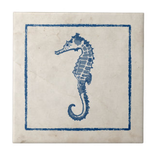 Vintage Sea Horse Small Square Tile