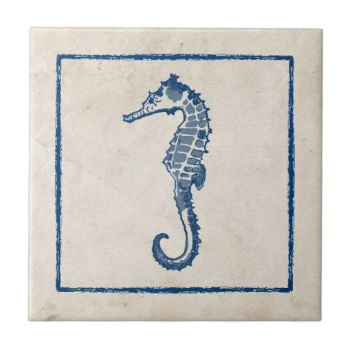 Vintage Sea Horse Ceramic Tile