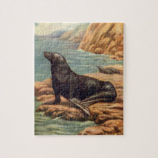 Vintage Sea Lion by the Seashore, Marine Mammals Jigsaw Puzzle