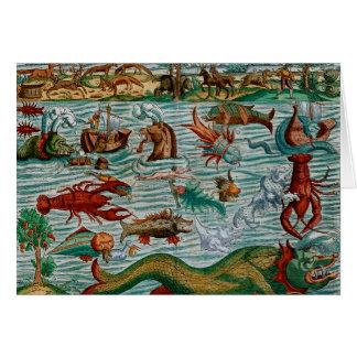 Vintage Sea Monsters Greeting Card