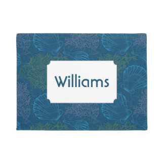 Vintage Sea Pattern | Add Your Name Doormat