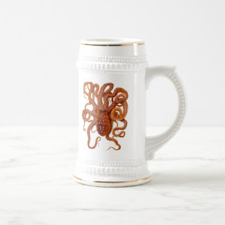 vintage sea wildlife - octopus - beer mug