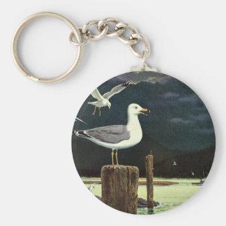 Vintage Seagull Perched Pier, Marine Birds Animals Basic Round Button Key Ring