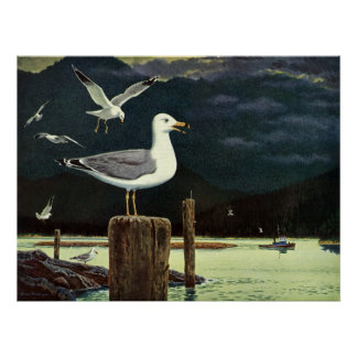 Vintage Seagull Perched Pier, Marine Birds Animals Poster