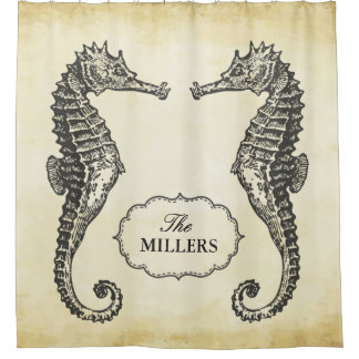 Vintage Seahorse Family Name Antique Old Texture Shower Curtain