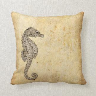 Vintage Seahorse Illustration Cushion