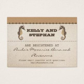 vintage seahorses wedding registry tickets
