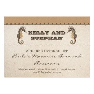vintage seahorses wedding registry tickets business cards