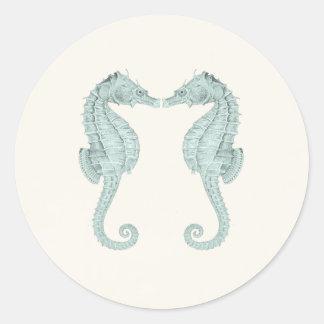 Vintage Seahorses Wedding Stickers