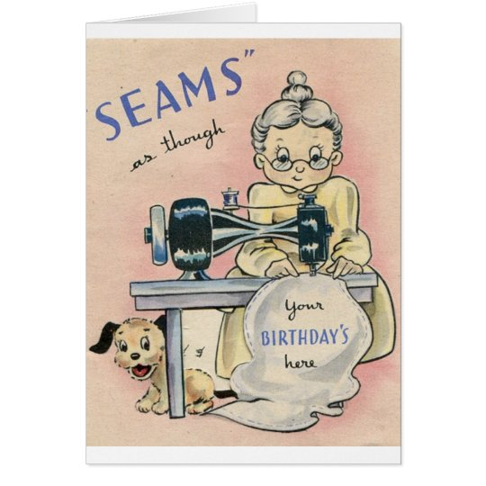 Vintage Seamstress And Puppy Birthday Card