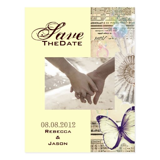 Vintage seashell butterfly wedding savethedate post cards