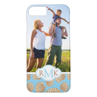 Vintage Seashell Pattern| Your Photo & Monogram iPhone 8/7 Case