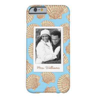 Vintage Seashell Pattern | Your Photo & Name Barely There iPhone 6 Case