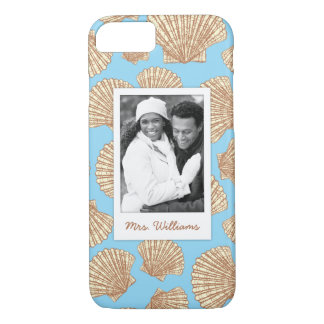 Vintage Seashell Pattern | Your Photo & Name iPhone 8/7 Case