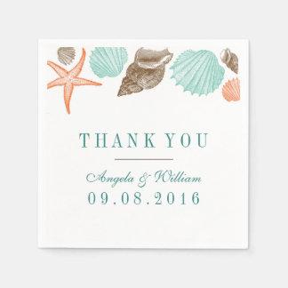 Vintage Seashells Paper Napkin for Beach Wedding