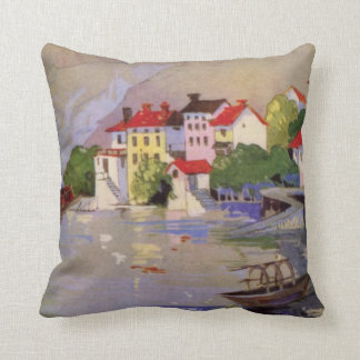 Vintage Seaside Village Italy Tourism Throw Pillow