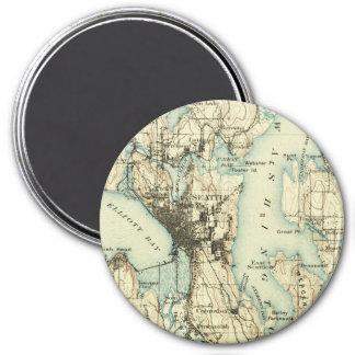 Vintage Seattle Map Magnet