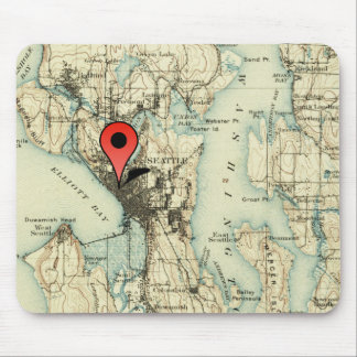 Vintage Seattle Map With Location Marker Mousepad