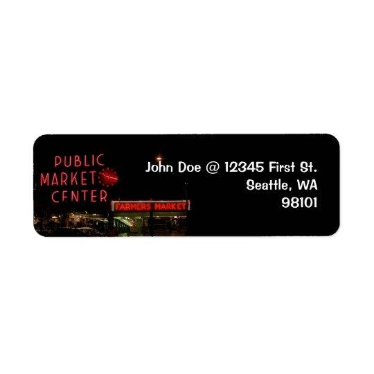 Vintage Seattle Public Market Return Address Label