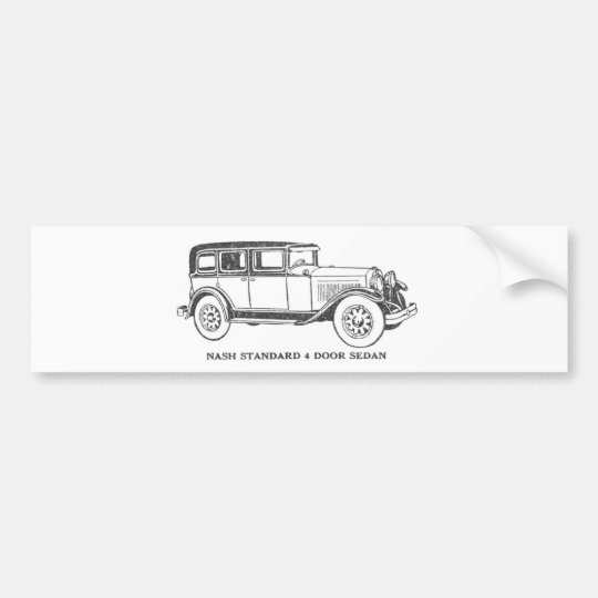 Vintage Sedan Car Bumper Sticker