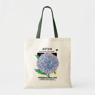 Vintage Seed Packet Art, Purple Aster Flowers