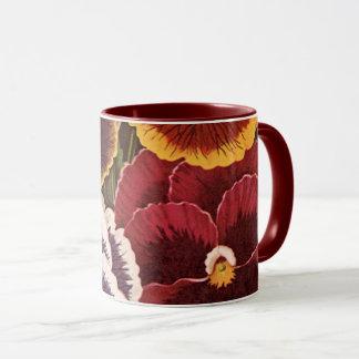 Vintage Seed Packet Label Art, Garden Pansies Mug