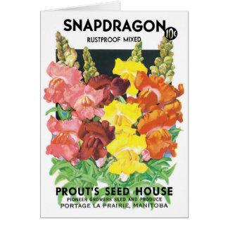 Vintage Seed Packet Label Art, Snapdragon Flowers Greeting Card