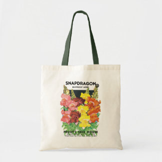 Vintage Seed Packet Label Art, Snapdragon Flowers Tote Bag