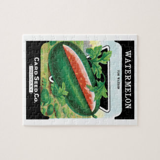 Vintage Seed Packet Label Art, Watermelons Fruit Puzzles