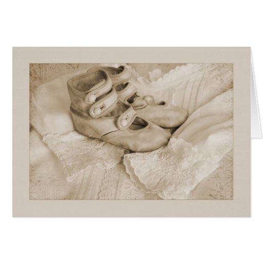 Vintage Sepia baby shoes Greeting Cards