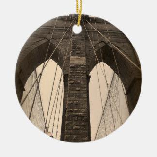 Vintage Sepia Brooklyn Bridge Christmas Ornament