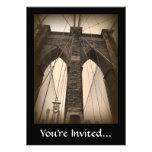 Vintage Sepia Brooklyn Bridge Custom Invites
