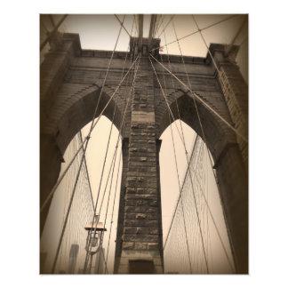 Vintage Sepia Brooklyn Bridge Photograph