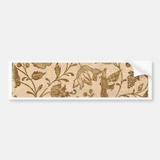 Vintage Sepia Floral Pattern Design Bumper Sticker